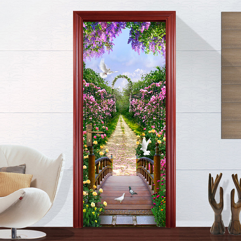 PVC Waterproof Self-adhesive Door Stickers Space Wallpaper Home Decor 3D Stereoscopic Space Poster Mural Door Wall Paper Rolls
