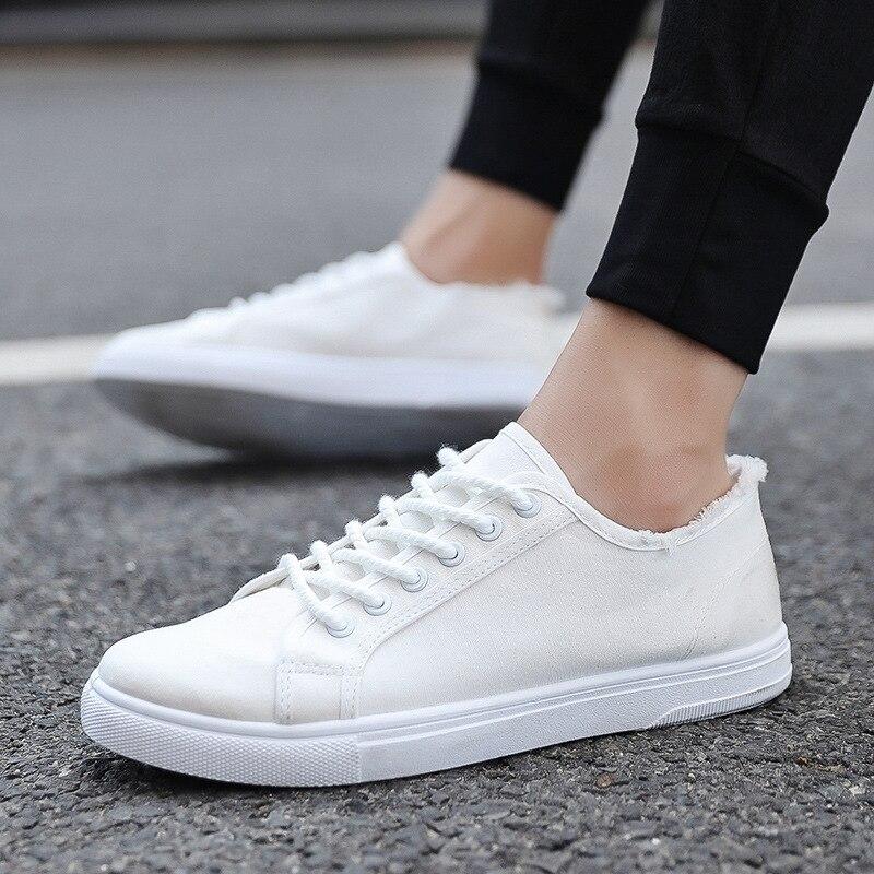 2018 Mode Leinwand Schuhe Männer Farben Weiß Casual Schuhe Freizeit Komfortable Tennis Schuhe Männlichen Weißen Spitze Up Skate Turnschuhe Um Jeden Preis