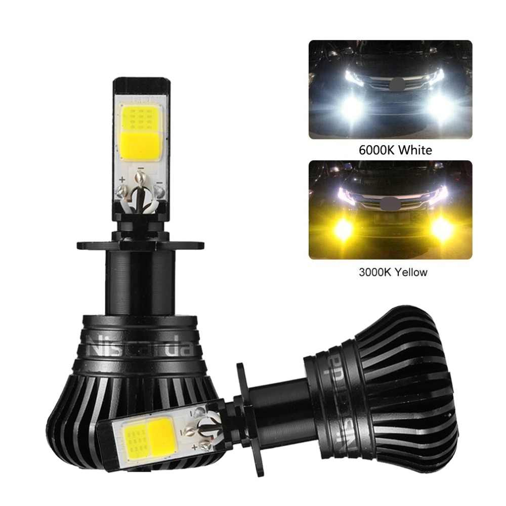 Niscarda 2X H1/H3/H4/H7/H8/H9/9005/9006/880 3000K Yellow 6000K White Fog Lights Bulbs Dual Color Lamps