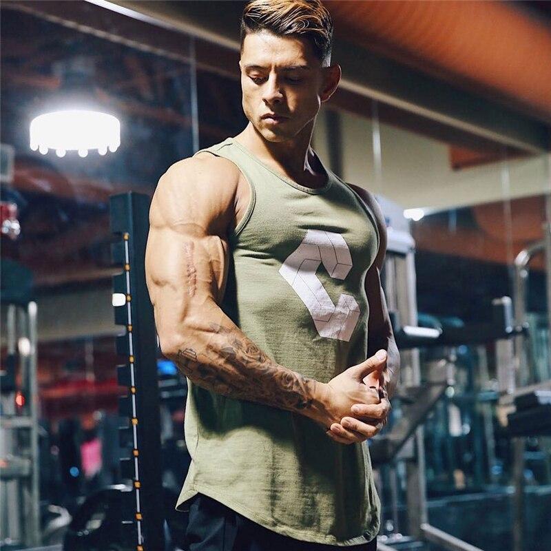2019 Summer Fitness Men   Tank     Top   Mens Bodybuilding Stringers Gyms   Tank     Tops   Singlet Brand Clothing men Sleeveless Shirt