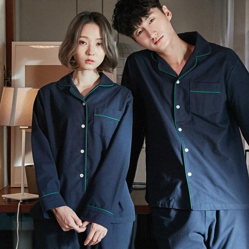Couples Pajama Sets Long Sleeve Lovers' Clothes Sleepwear Solid Pijama Cartoon Sleepwear Casual Home Wear Big Size 2pcs/set