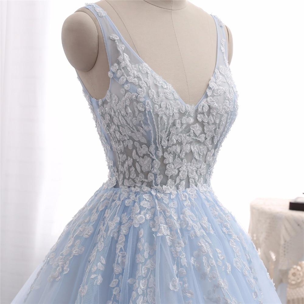 Baby Blue Brautkleider Vestido de Noiva 2017 Eine Linie V ausschnitt ...