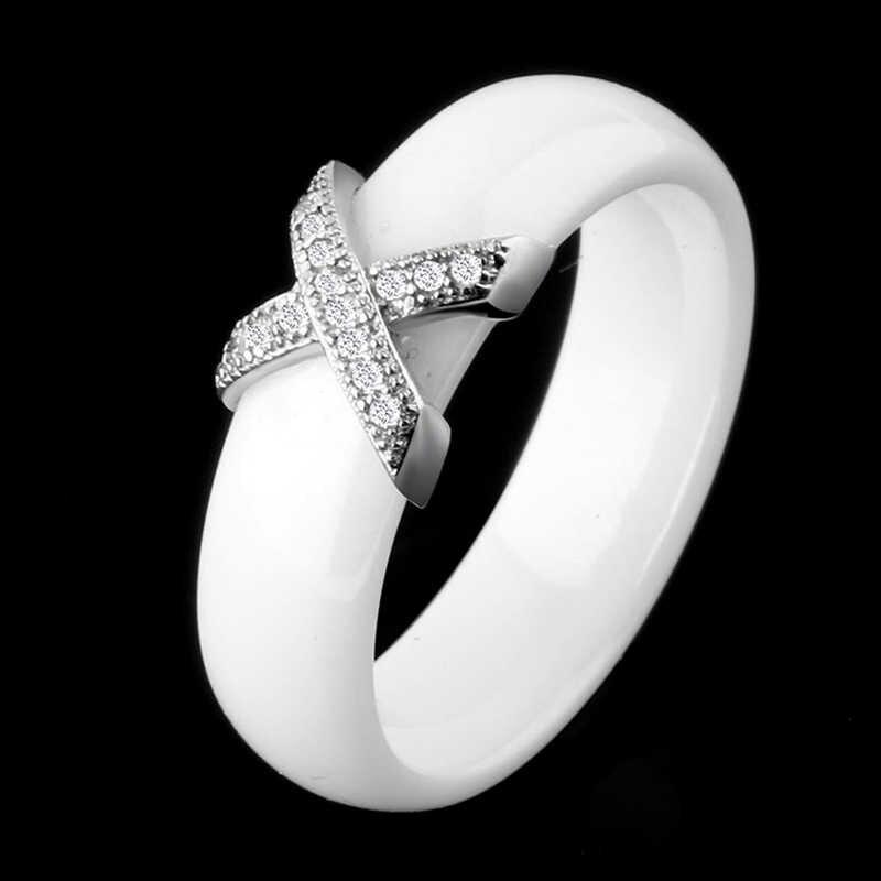 Модные ювелирные изделия Женское кольцо с AAA кристаллом 6/8 мм X Крест керамические кольца для мужчин и женщин плюс большой размер 10 11 12 обручальное кольцо подарок