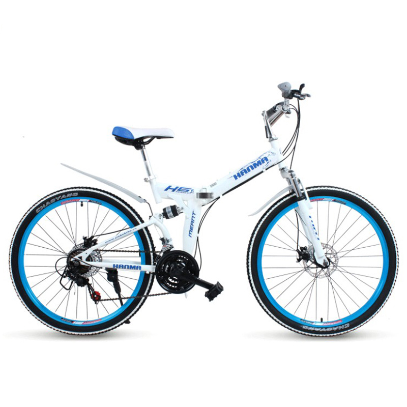 24/26 inch folding mountain bike 21 speed front and rear suspension machinery disc brake commuter commuter male and female stude image