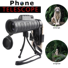 High Quality 40X60 Zoom Outdoor Optical Lens Monocular Telescope For Mobile Phone with Clip+Tripod Accessories