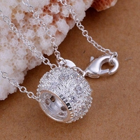 P024 Free Shipping silver plated Necklace, 925 fashion silver jewelry Inlaid stone circle /EDVSAICR EDVSAICR