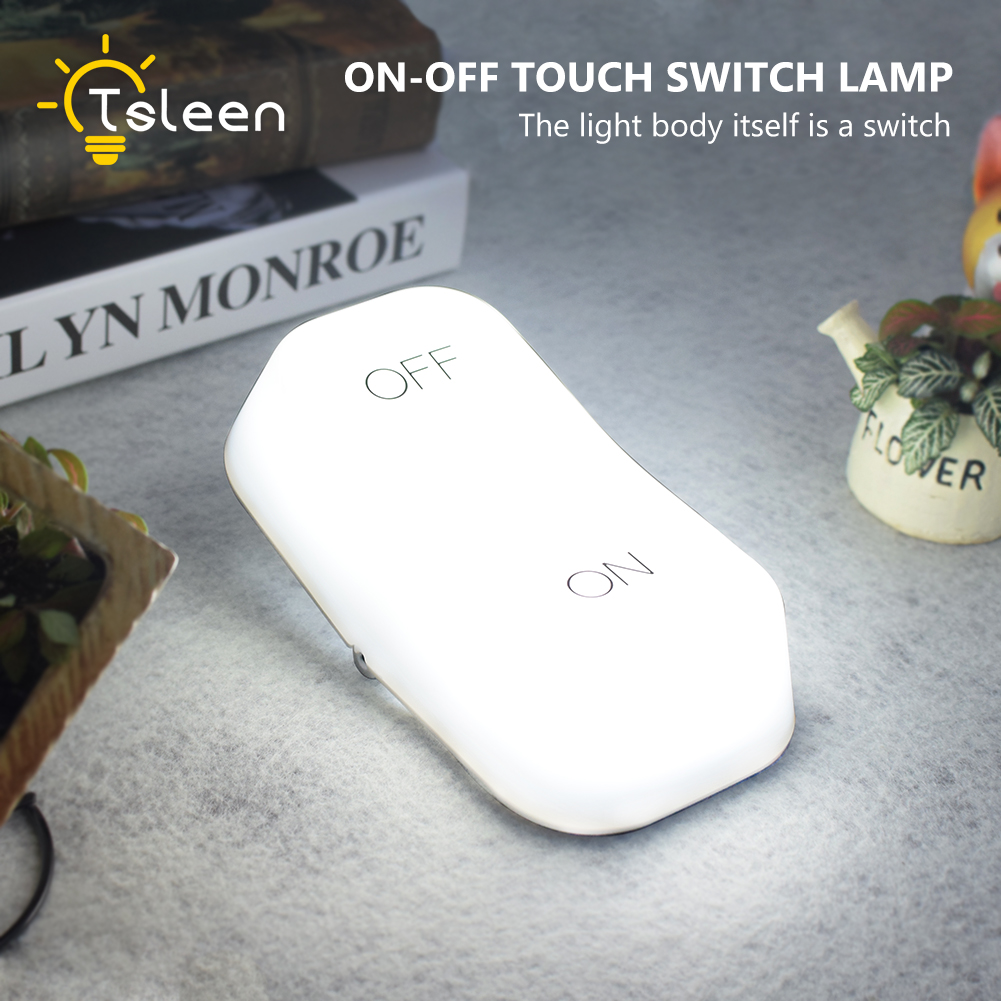 TSLEEN Smart Touch Switch ON-OFF Lamp USB Rechargeable LED Night Light Cool Warm White Gravity Sensor Switch Build in Battery