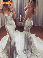 Fashion Silver bodycon Mermaid Evening Dresses 2019 Sexy Evening Gowns Long Women Party Scoop Sequin Backless glitter Club Dress