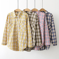 Dioufond Women Plaid Blouses Loose Style Autumn Ladies Tops Casual Yellow Pink Shirt Female Camisa Femme