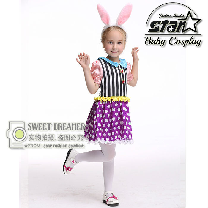 Kid Children Bunny Costumes Adorable Lovely Cute Girl's Dress for Halloween Party Rabbit Dress Cosplay Masquerade Clothing halloween costumes clown dressed up acting cute nose red