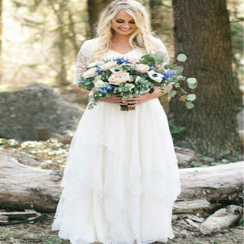 Plus Size Boho Wedding Dress.Us 118 49 21 Off Fairytale Boho Wedding Dress With Half Sleeves A Line V Neck Lace Plus Size Country Summer Bridal Dress Hippie Reception Gowns In