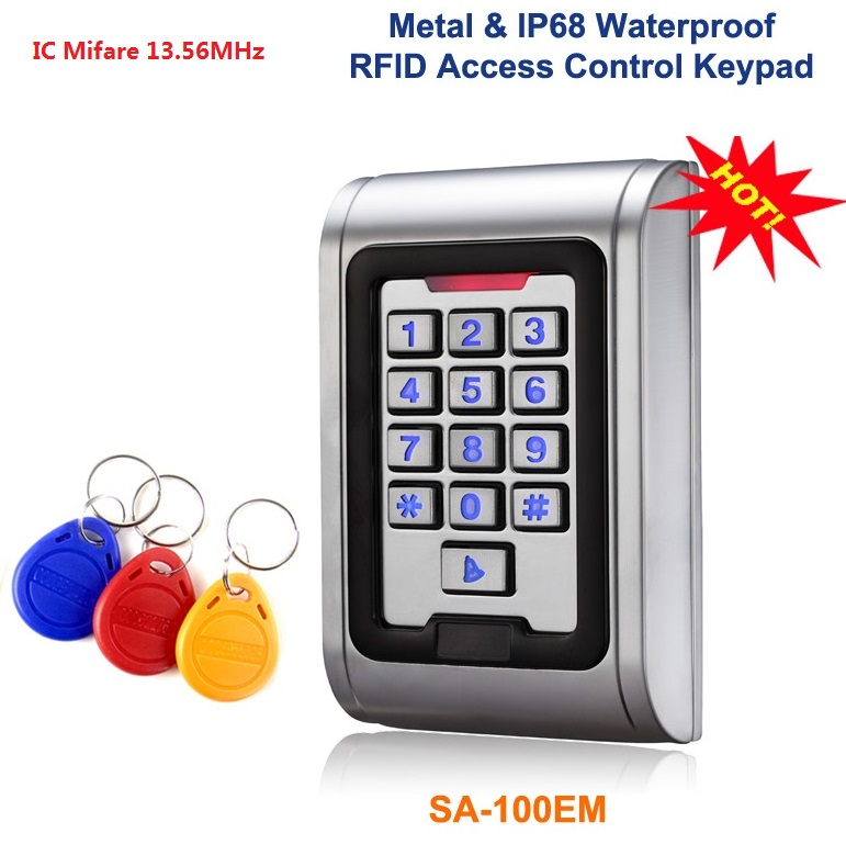 Metal Access Control keypad Waterproof IC Mifare Card Reader include 3pcs RFID Keyfobs Home Automation Security Reader 13.65MHZ waterproof touch keypad card reader for rfid access control system card reader with wg26 for home security f1688a