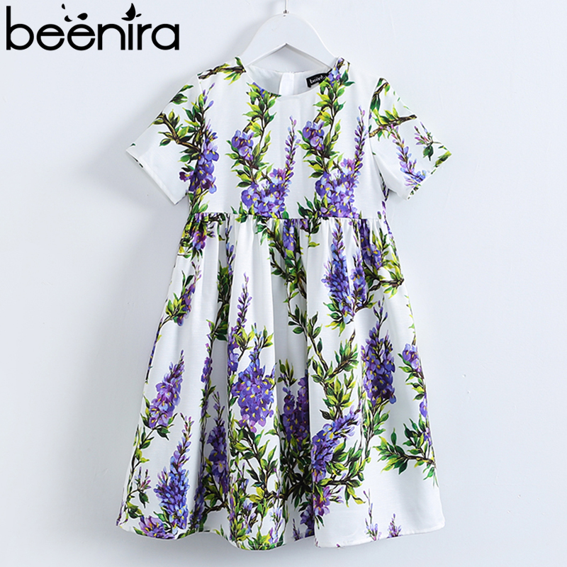Beenira Princess Girl Party Dress 2017 Brand Dresses Lavender Printed Kids Dress for Girls Clothes European and American Style european and american fashion girls cotton dress summer girl party princess dress pleated polka dot kids dresses for girls 5 12y