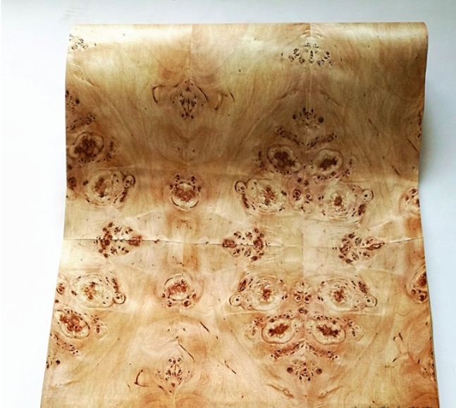 2.5Meter/pcs    Width:55cm  Thickness:0.3mm  Natural Poplar Tree Wood Veneer Speaker Thin Skin((With Kraft Paper)