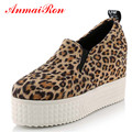 ANMAIRON Platform Shoes Women Big Size 34-43 Advanced PU Leather Slip-On Leisure Shoes Woman NewBlack White Leopard Women Shoes