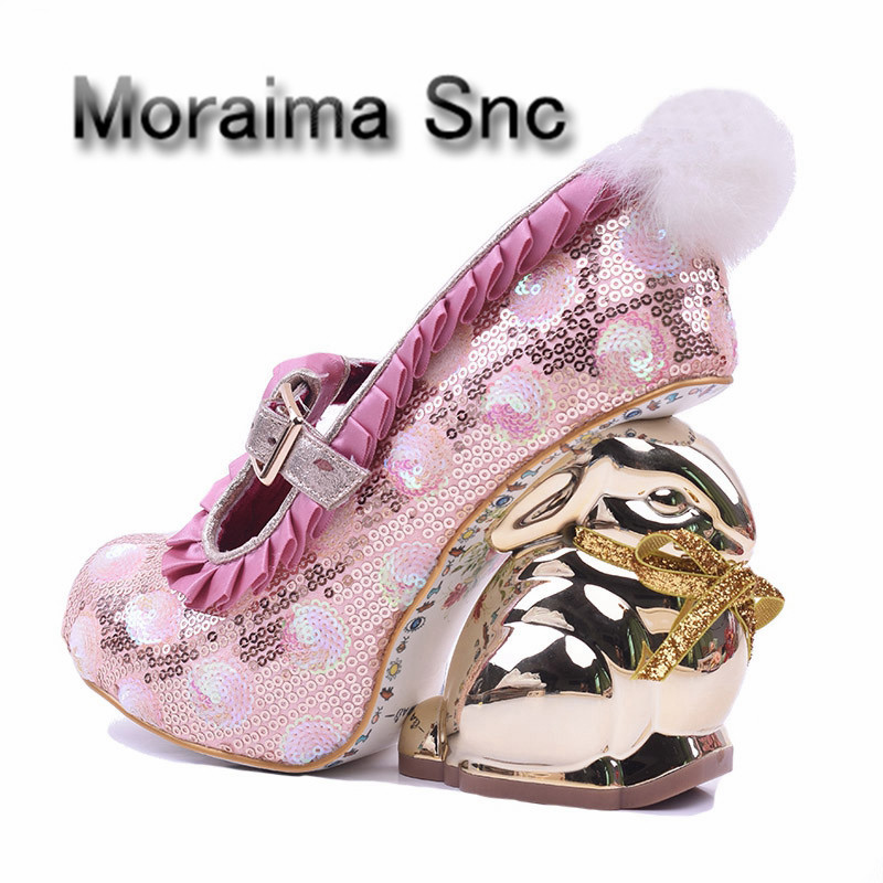 Moraima Snc gold rabbit strange heels ankle strap woman shoes sweet dress heels 2018 pink glitter embellished high heel shoes new arrivals pale pink shiny leather kawaii rabbit ankle strap sweet lolita shoes 5 5cm heel pumps