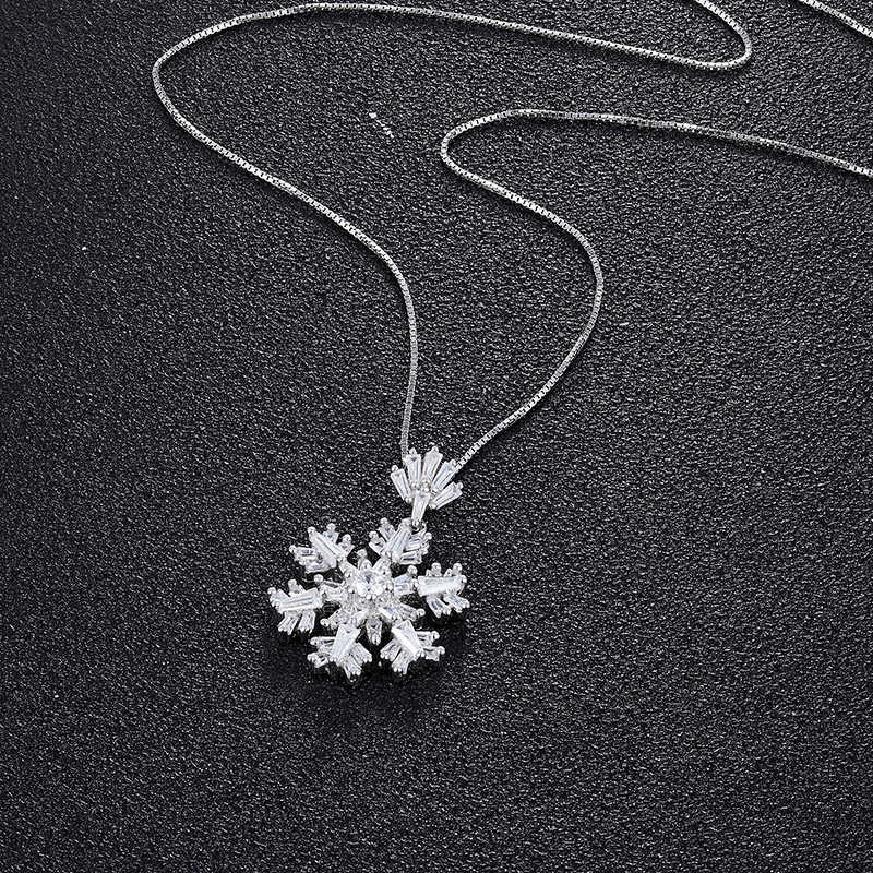JOVO เครื่องประดับชุดผู้หญิงหิมะดอกไม้ Boho Cubic Zircon สร้อยคอ/ต่างหูขายส่ง 925 เงินสเตอร์ลิงชุดจี้