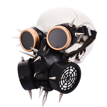 Steampunk Cyber Mask Cosplay Halloween Costume Accessories Retro Punk Rock Gas Mask Gothic Spikes Goggles Mask Set  1