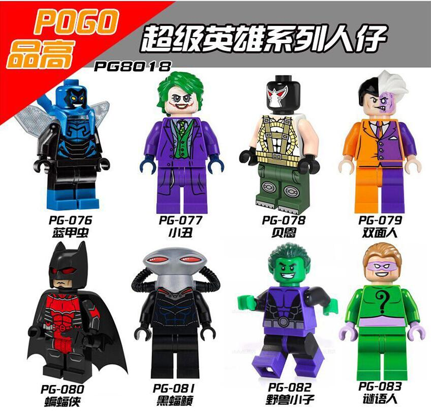 PG8018 Building Blocks Super Heroes Bane Riddler Joker Batman Two Face Villians Beast Boy Blue Beetle Black Manta Children Toys super heroes riddler scarecrow two face bruce wayne batman penguin aaron cash harley quinn mime building blocks kids toys kf1041