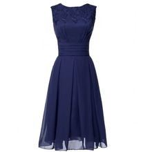Navy Short Bridesmaid Dress Jewel Neck Appliques Tea Length Cheap Chiffon Maid of Honor Dress