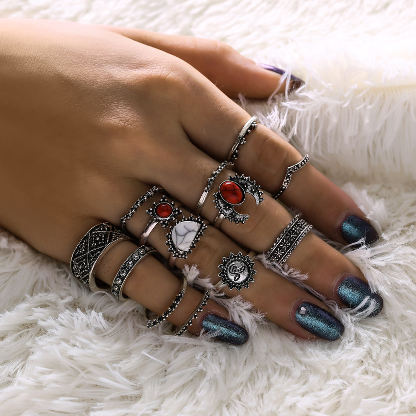 14PCs/Set Bohemia Vintage Lucky Red Antique Artificial Stone Moon Geometric Knuckle Midi Ring Set Women Punk Antique Rings Gifts