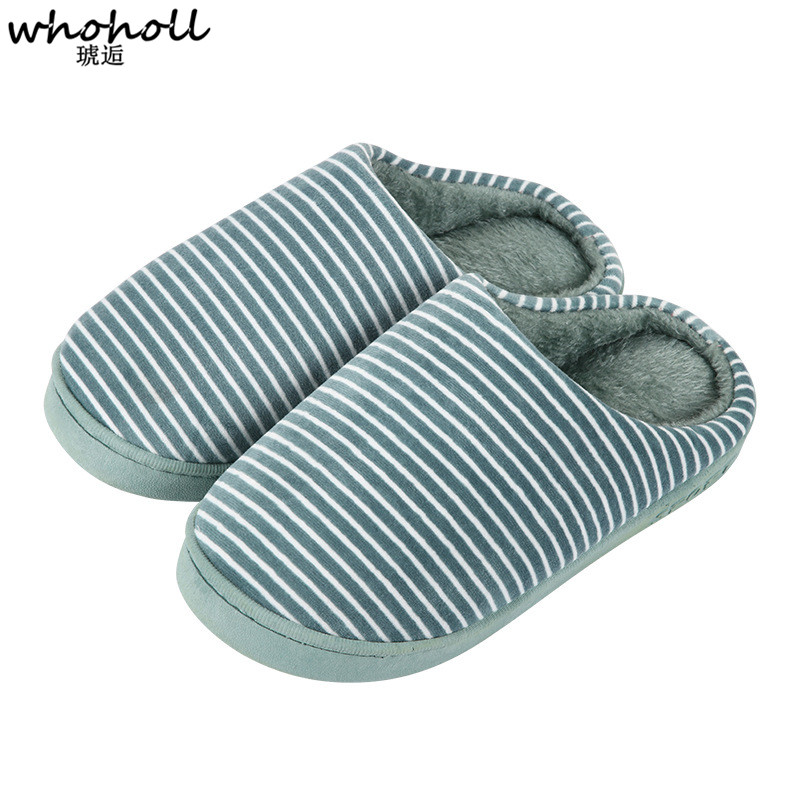 2018 New Indoor Slippers Fashion Winter Men Women Cotton Plush Warm Slipers Striped Unisex Home Floor Soft Slippers Shoes new new men women soft warm indoor slippers cotton sandal house home anti slip shoes