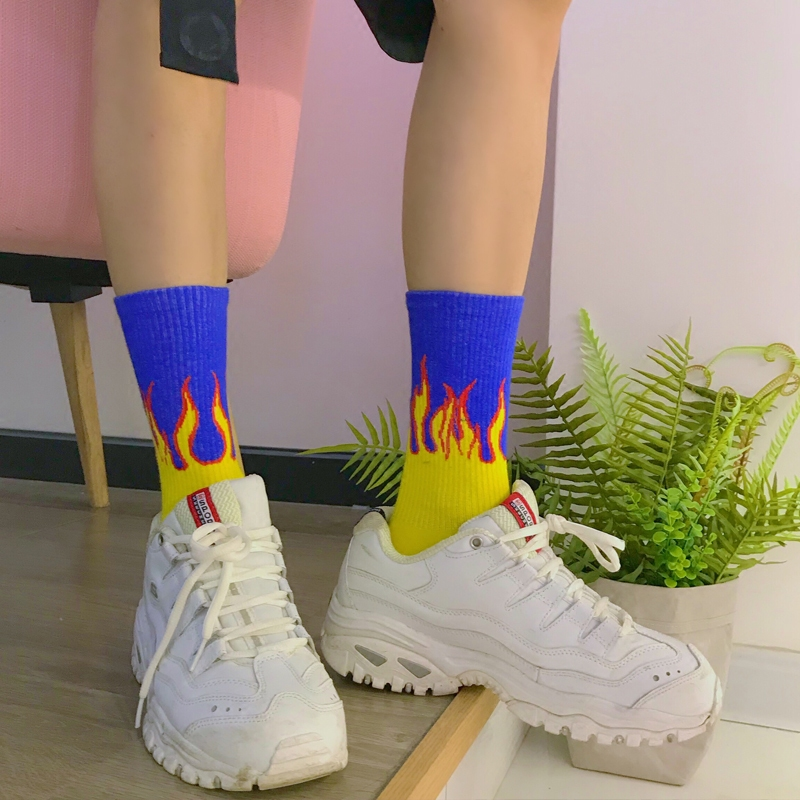 New Men's Colorful Flame Fire Pattern Cotton   Socks   Harajuku Firewood Skateboard Hip Hop Fashion Cool Unisex Crew   Socks