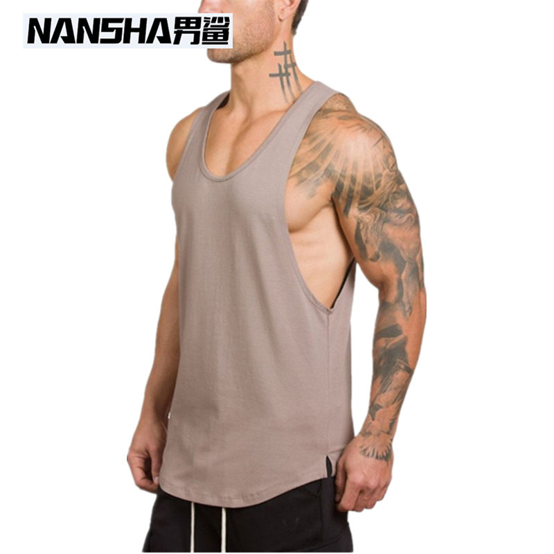 NANSHA Fashion New Men Bodybuilding Cotton Tank Tops Gyms Muscle Singlets Fitness Vest Shirt Sportwears Vest Tops Clothes