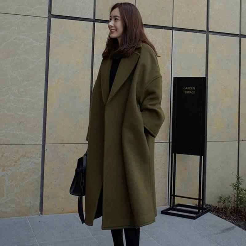 U-SWEAR Autumn Winter Women Overcoat Trench Casual Solid Slim Wool Blend Coats Female Long Woolen Coats Outwear Casaco Mont