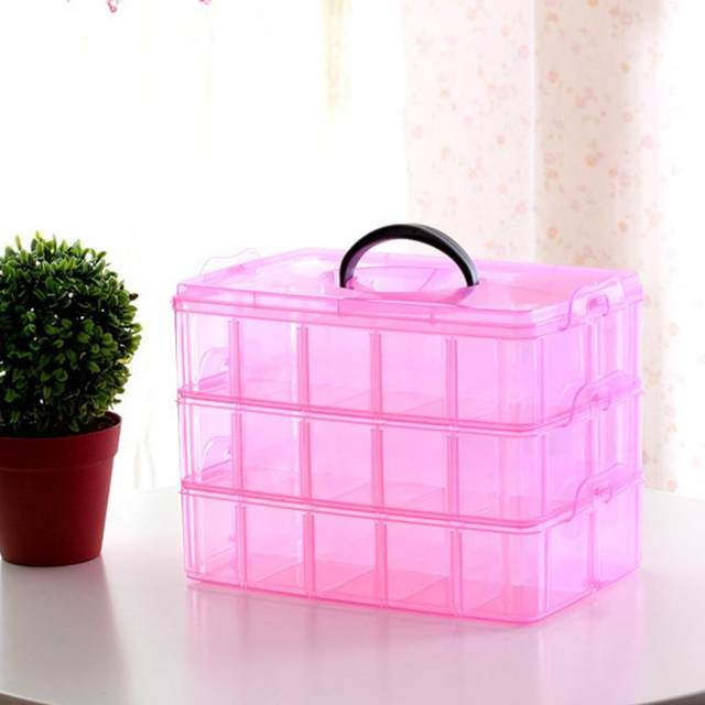 Online Shop New Clear Plastic Jewelry Bead Storage Box 3 Layer