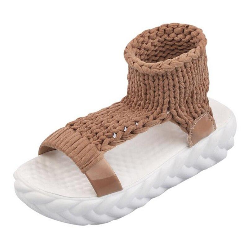 Summer Causal High Heels Sandals Women Knitting Wool Peep Toe Ladies Platform Shoes Solid Comfortable Wedge Sandals 5