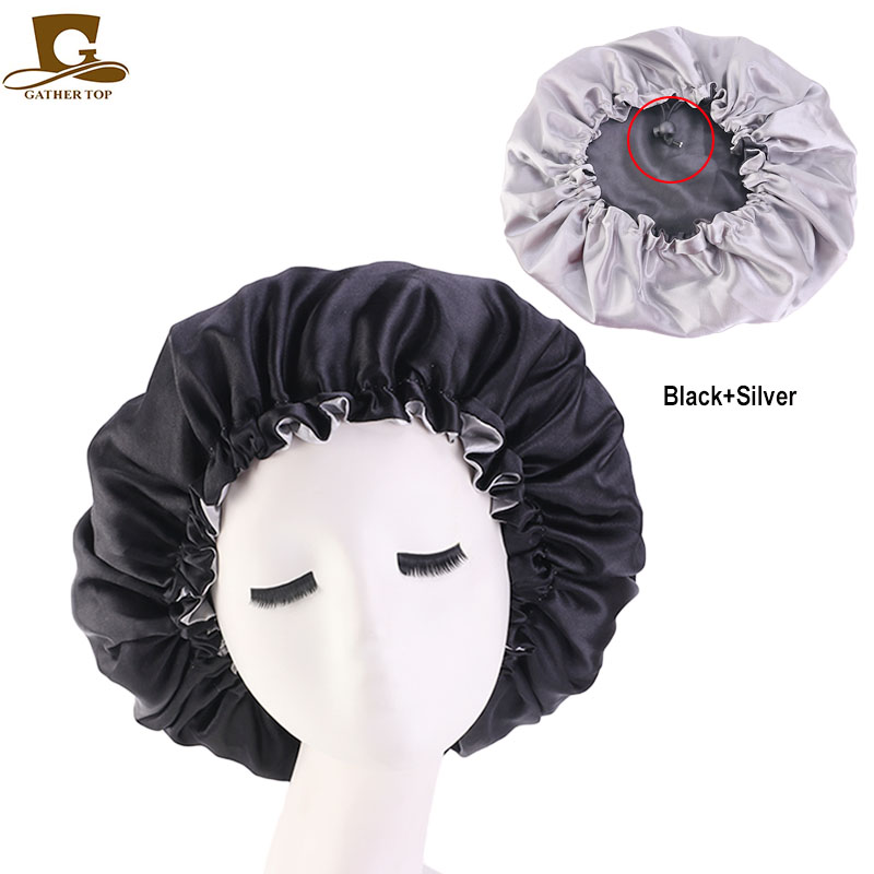 Reversible Satin Bonnet Double Layer Adjustable Size Sleep Night Cap Head Cover Bonnet Hat Beanies Wholesale