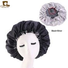 Reversible Satin Bonnet double layer adjustable size Sleep Night Cap Head Cover Bonnet Hat beanies wholesale