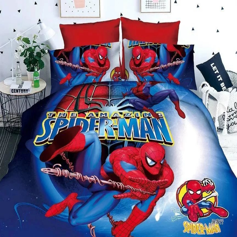 US $24.6 49% OFF|Superman Cartoon Bedding Set Printing Cama Minions  Bedclothes Duvet Cover Bed Sheet Children Kids Bedding Sets American Boy  gife-in ...