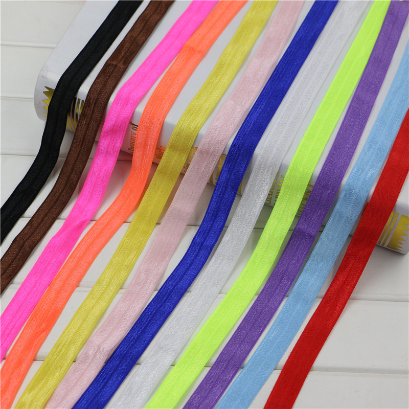 Free shipping 15mm 5 8 for hair tie making foe band fold over elastic ribbon 10