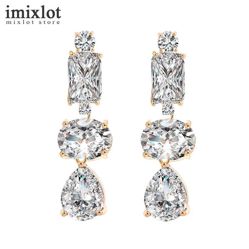 Imixlot Water Drop Crystal Bridal Long Drop Pendant Earrings for Women CZ Zircon Dangle Earring Gold Color Party Wedding Jewelry