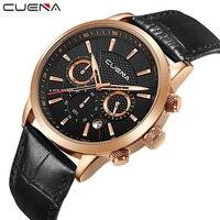 CUENA Brand Watches Men Fashion Analog Man Clock Genuine Leather Watch Relojes Waterproof Relogio Masculino Quartz