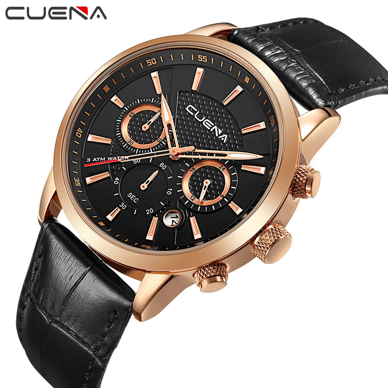 CUENA Brand Watches Men Fashion Analog Man Clock Genuine Leather Watch Relojes Waterproof Relogio Masculino Quartz Wristwatches weide popular brand new fashion digital led watch men waterproof sport watches man white dial stainless steel relogio masculino