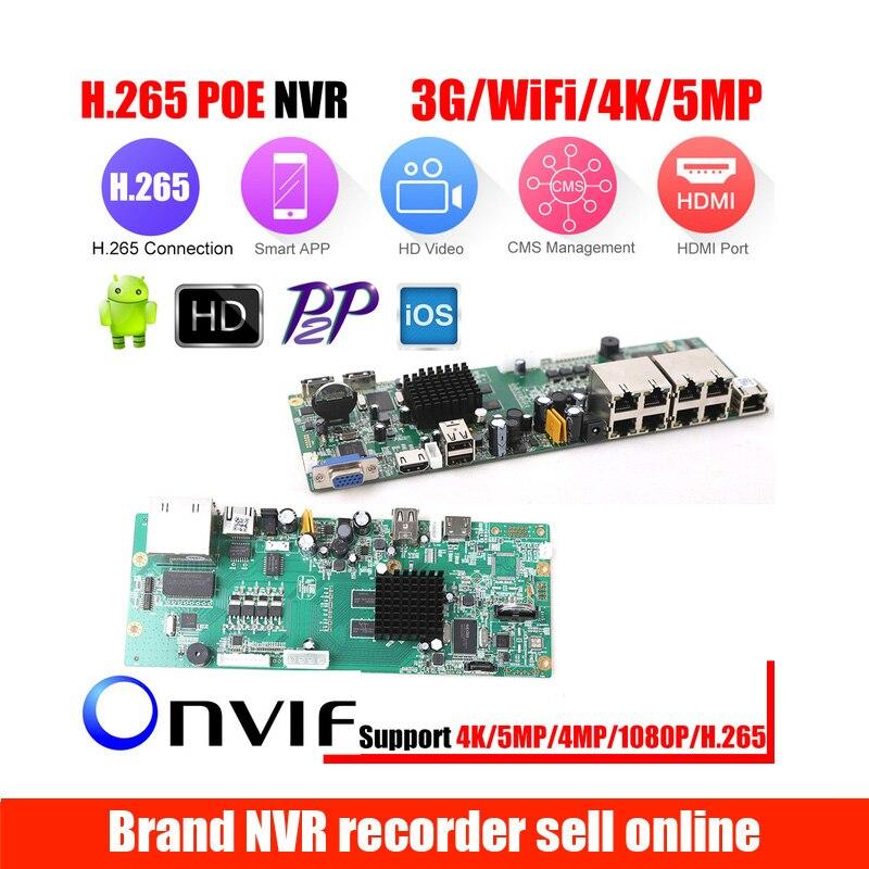 XMEye P2P 4CH 8CH CCTV NVR Board HI3798M 4K Display 4/8CH 4MP Video Recorder Module ONVIF Motion Detect Support 3G/Wifi