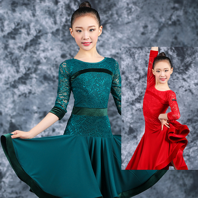 Latin Dance Costume Girls Lace Long Sleeve Dresses Professional Latin Dance Competition Clothes Kids Performance Outfit DQL1049