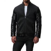 MarKyi fashion mens leather jackets plus sizes plaid print motorcycle jacket for men good quality clothing