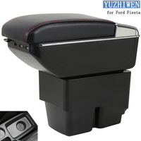For Ford Fiesta Armrest Box Fiesta MK6 7 Universal Car Central Armrest Storage Box cup holder ashtray modification accessories