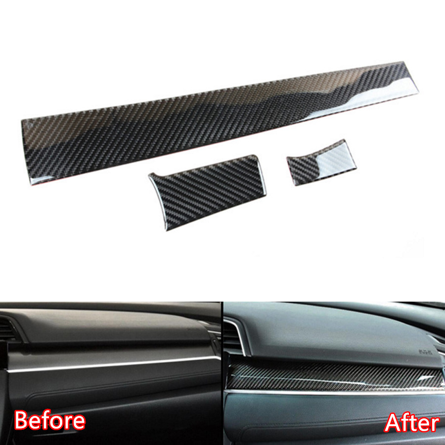 YAQUICKA 3Pcs Carbon Fiber Car Front Dashboard Central Console Cover Trim Sticker For Honda Civic 2016 2017 Auto Accessories 3pcs car steering wheel button switch panel cover trim decoration carbon fiber for honda civic 2016 2017 car styling accessories