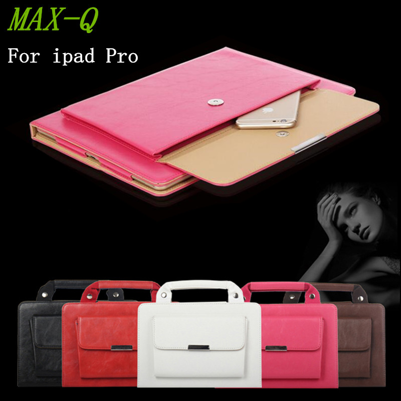 NEW 2016 High Quanlity Carrying HandBag pu Leather Case for iPad pro 9.7 Purse Style Pocket Cover For ipad Pro 12.9