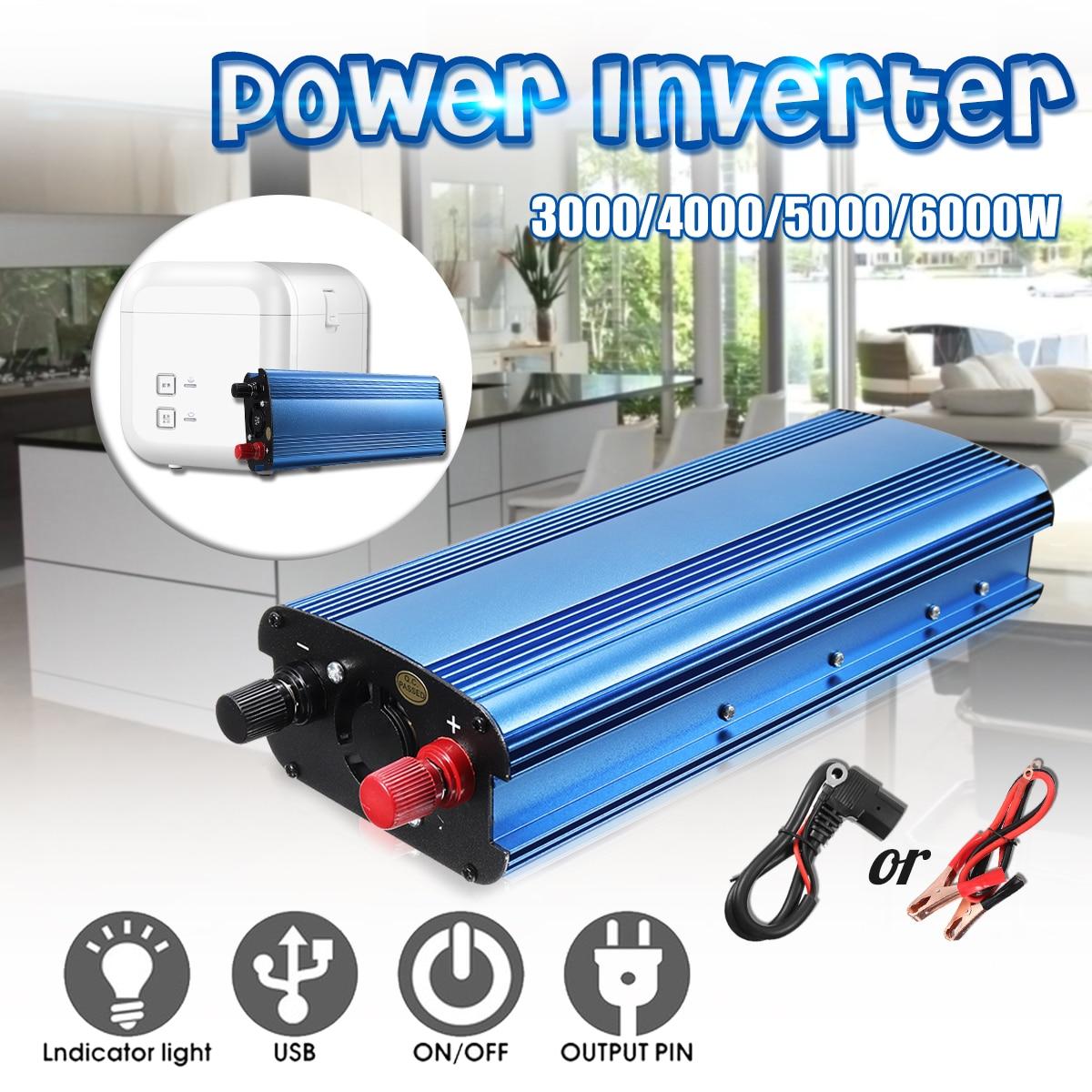 3000W/4000W/5000W/6000W Peak Power Inverter DC 12V/24V/48V/60V To AC 220V Sine Wave Solar Inverter Car Charger Voltage Convertor 4000w peak w 4 usb car power inverter 2000w dc 12v to ac 220v charger converter car led power inverter 4000w dc 12v to ac220v