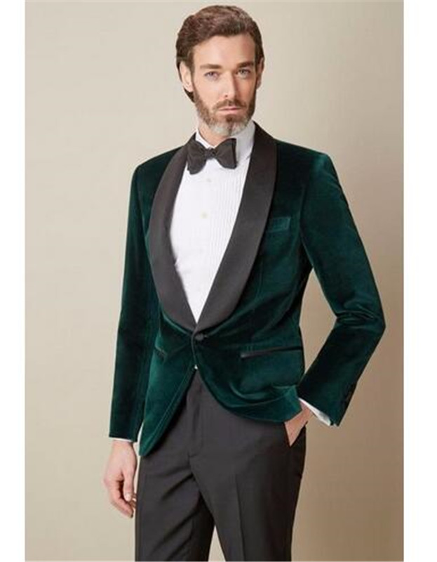 Shawl Lapel Green Velvet 2 Pcs(Jacket+Pants) Men Wedding Suits Groomsmen Groom Tuxedos Mens Tuxedo Wedding Prom Suits