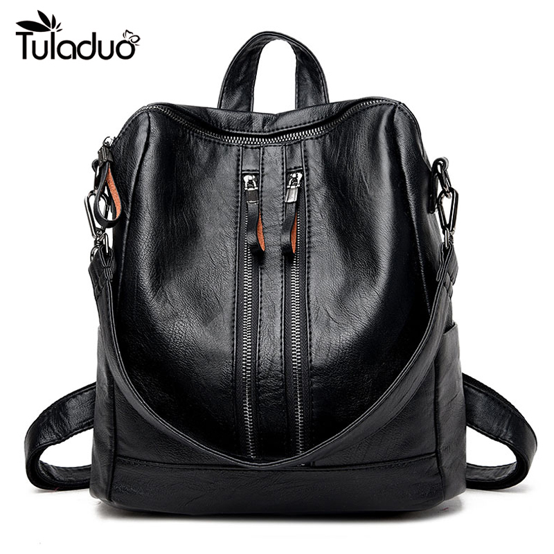 High Quality 2019 New Fashion Soft Leather Backpack Women Brand Ladies Backpacks For Teenage Girls Casual School Bag