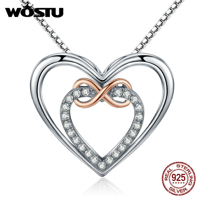 WOSTU Brand Authentic 925 Sterling Silver Delicate Heart Into Heart Pendant Necklaces For Women Fine Jewelry Gift CQN121
