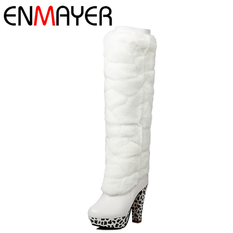 ФОТО ENMAYER New White Shoes Woman Dual Wear Winter Warm Snow Boots Large Size 34-43 Platform Round Toe Zipper  Knee-high Boots