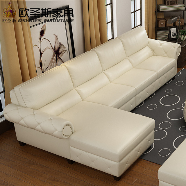 Button Tufted Leather Sofa European Leather Sofa Sale Commercial